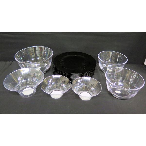 """Qty 6 Camscan Flared Bowls & 11 Decorative Plastic Chargers 13"""" Dia."""