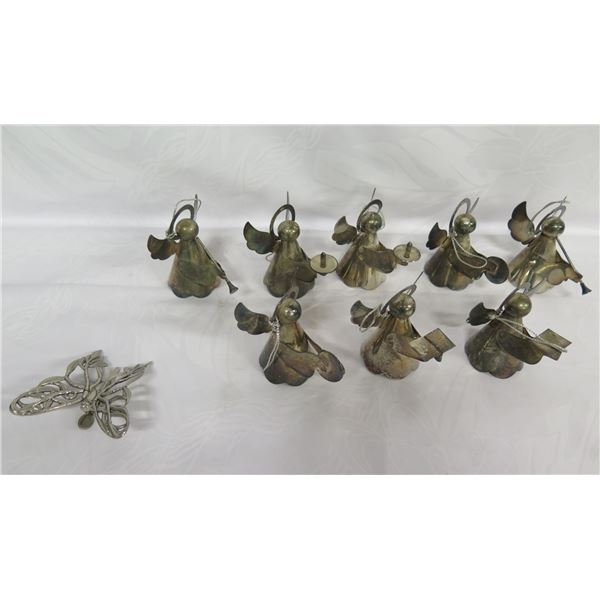 """Qty 8 Silver Plated on Brass Hong Kong Angels 2.5""""H & Butterfly (Signed John Hardy)"""