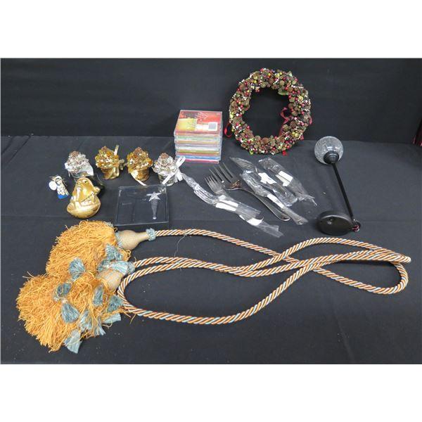 Misc Decor: Rope w/ Tassels, Wreath, Flatware, Ornaments, Wine Bottle Stopper, etc