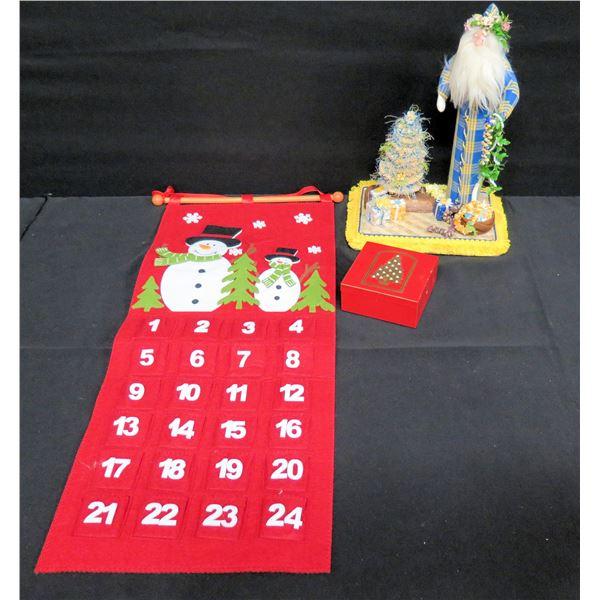 "Hawaiian Santa w/ Lei & Tree (13""H), Box of Otagiri Coasters, Dec Snowman Calendar"