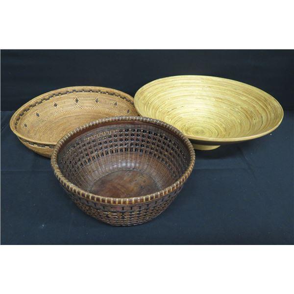 "Qty 3 Decorative Bowls: 2 Woven (1 w/ Maker's Mark) & 1 Flared 15"" Dia."