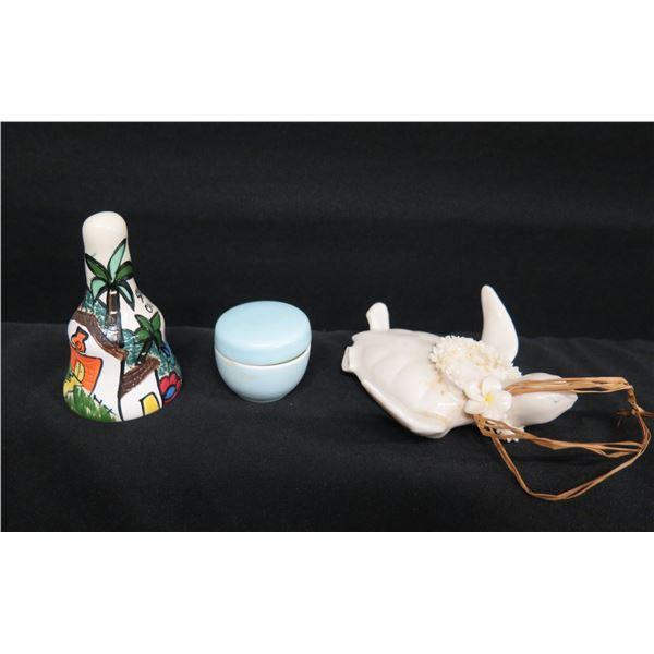 San Antonio Cali Painted Bell, Noritake Candleholder w/ Lid & Glazed Turtle (damaged)