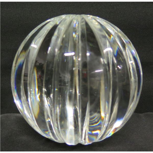 """Great City Traders Grooved Handcrafted Lead Crystal Globe, San Francisco 5"""" Dia."""