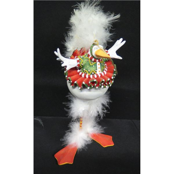 """Christmas Chicken w/ Feathers, Signed PB 10 Patience Brewster 8""""H"""