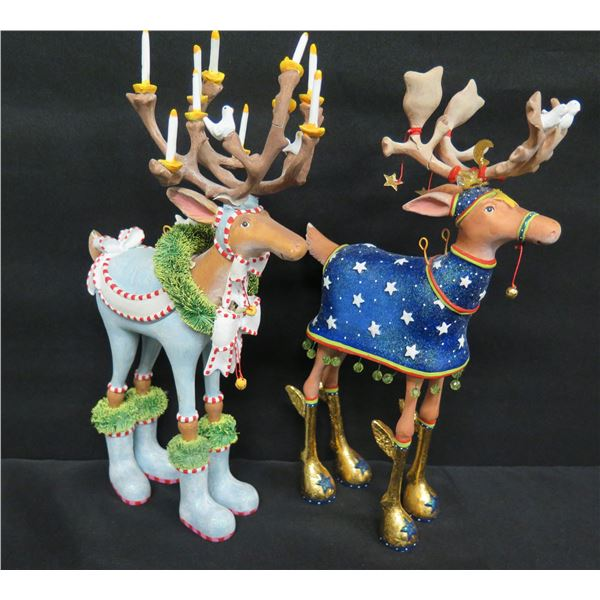 """Qty 2 Christmas Reindeer w/ Decorated Antlers, Signed PB 09 Patience Brewster 11""""H"""