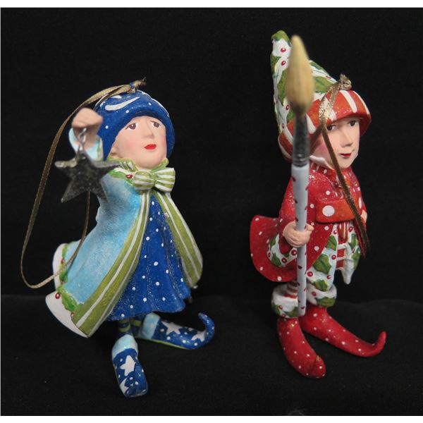 """Qty 2 Christmas Elf Ornaments, Signed PB 07 & 09 Patience Brewster 4""""H"""