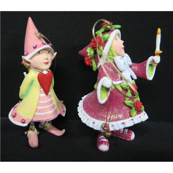 """Qty 2 Christmas Elf Ornaments, Signed PB 12 & 17 Patience Brewster 4.5""""H"""