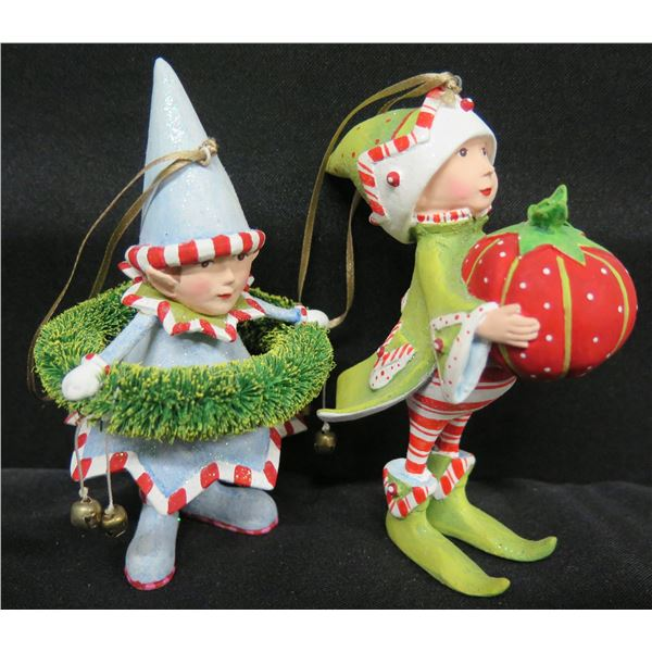"""Qty 2 Christmas Elf Ornaments, Signed PB 11 & 12 Patience Brewster 4.5""""H"""