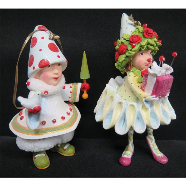 """Qty 2 Elf Ornaments, Signed PB 12 & 17 Patience Brewster 4.5""""H"""