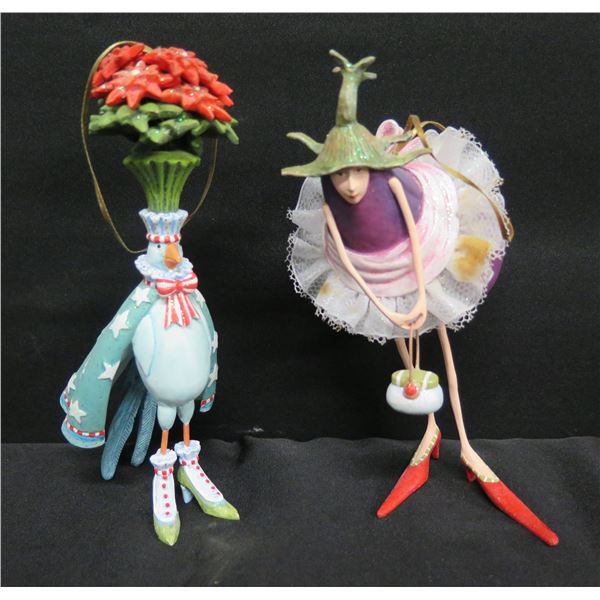 """Qty 2 Figurines w/ Shoes - Bird & Ballerina, Signed PB 09 Patience Brewster 7""""H"""