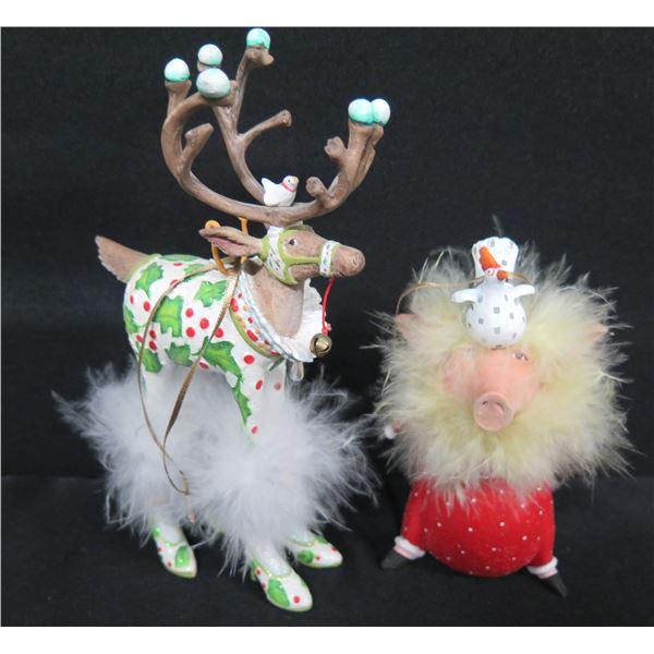 """Feathered Christmas Reindeer & Feathered Pig, Signed PB 09 & 12 Patience Brewster 6.5""""H"""