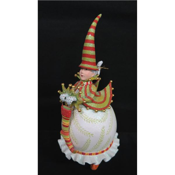 """Christmas Elf w/ Striped Hat, Ornament, Signed  PB 12 Patience Brewster 10""""H"""