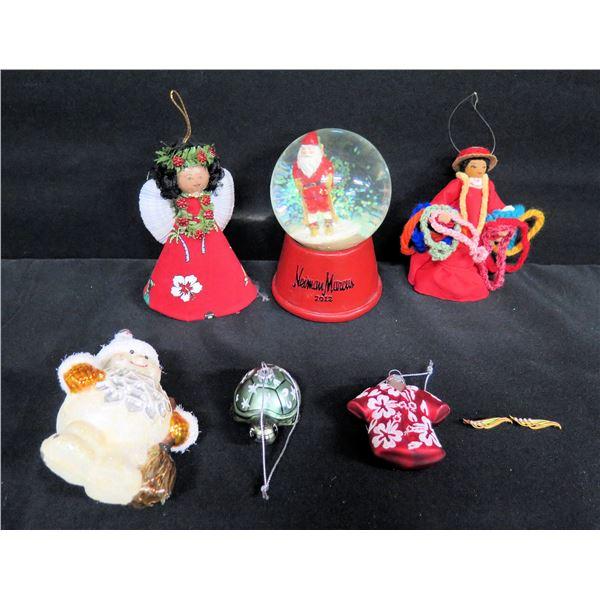 Qty 6 Christmas Ornaments: Neiman Marcus Snow Globe & Hawaii-Themed Tree Ornaments