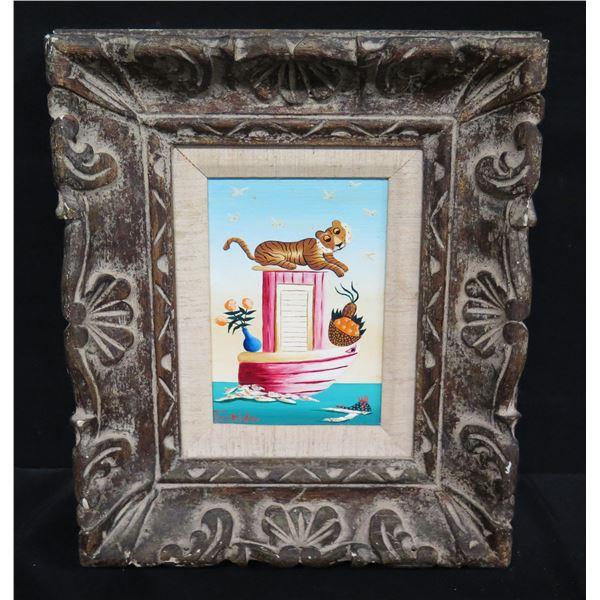 "Framed Original Painting - Tiger on Boat, Signed Tschida 1979 11""x13"""
