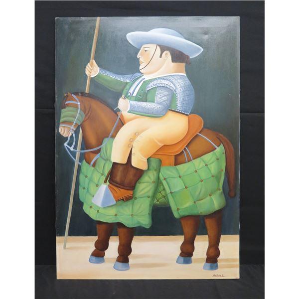 "Large Framed Art - Man on Horseback, Signed Anastasia E.  28""x40"""