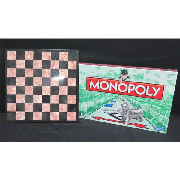Monopoly Board Game and Chess Board