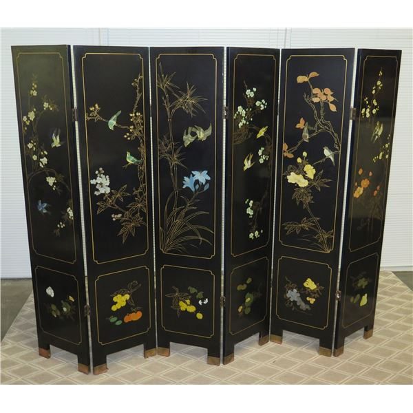 Six-Panel Black Lacquered Screen w/ Semi-Precious Stone Overlays on Reverse, Painted Bird/Foliage