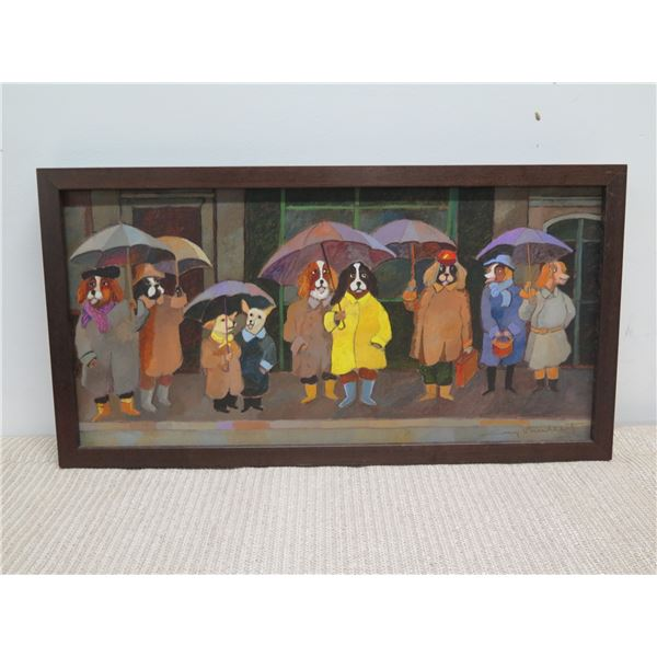 """Framed Giclee on Canvas, Dogs with Umbrellas, Signed by Susan Kosasa 11"""" x 21"""""""