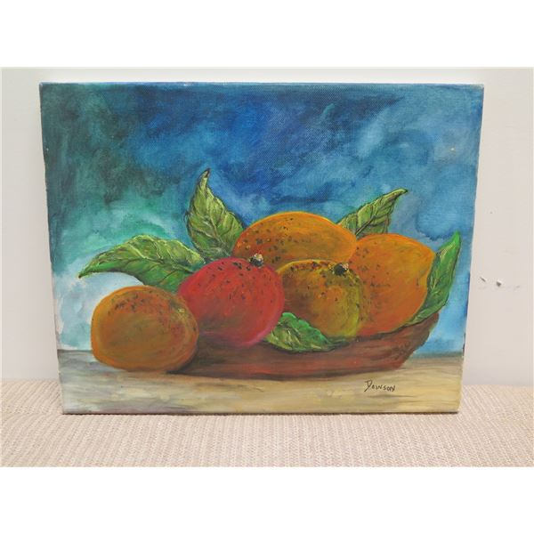 """Small Acrylic on Canvas, Still Life - Mangoes, Signed by Artist 14"""" x 11"""""""