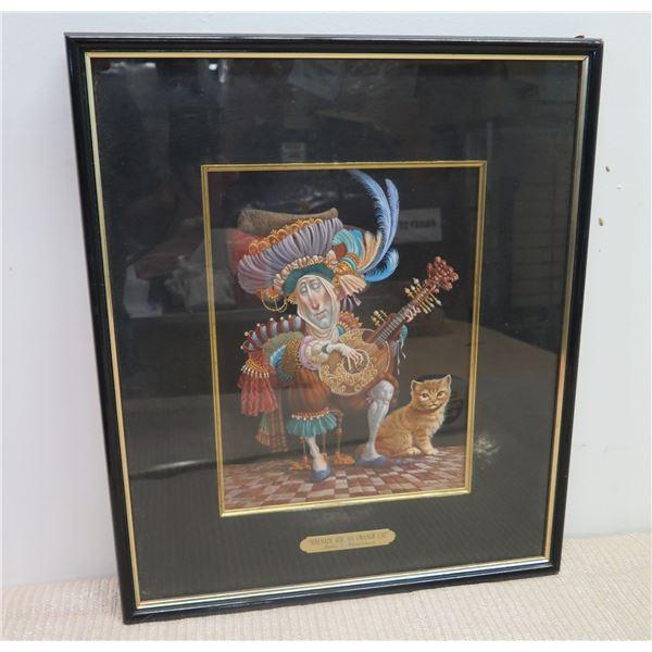 Framed Print, Serenade for an Orange Cat, Signed, 16x19 Artist James Christensen 1995, 3000/3053