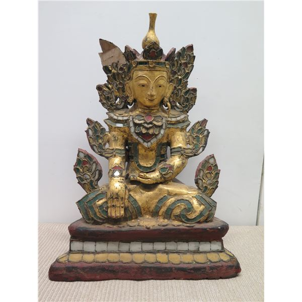"""Seated Painted Buddha, Approx. 23""""H, Bases 16""""W"""