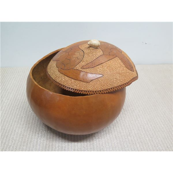 """Lidded Gourd with Etched Turtle Motif, Approx. 9"""" Dia, 9""""H"""