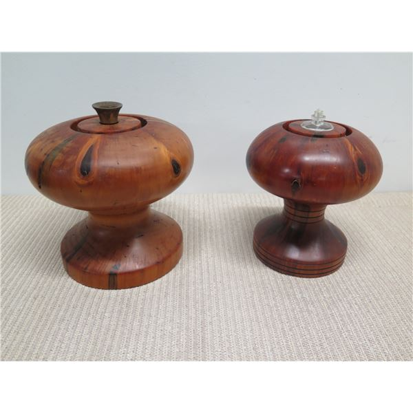 """Carved Lidded Oil Lamps, Norfolk Pine, Approx. 9"""" H"""