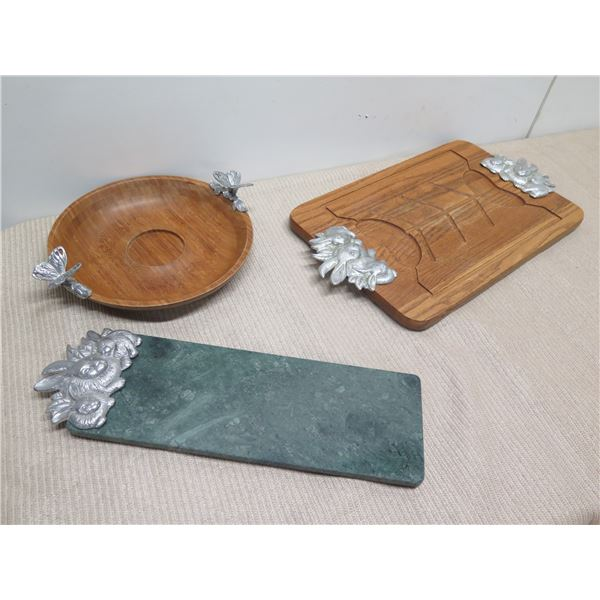 """Qty 2 Carved Wooded Trays w/ Metal Ornamentation, Green Stone Cheese Board (Round 12"""" Dia, Rectangle"""