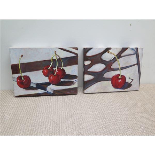 Original Acrylic on Canvas, Still Life Cherries, Sigend, Artist Manzione 12x9
