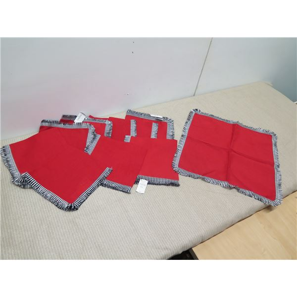 Neiman Marcus Red Fringed Napkins