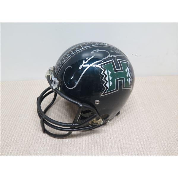 University of Hawaii Football Helmet, Signed by Colt Brennan (NFL Redskins)