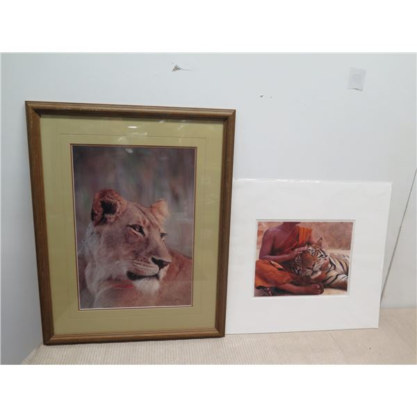 """Framed Print (Sunset on the Zambezi), Signed by Artist 22x28 and """"Tiger's Guardian"""" Thailand Art Pri"""