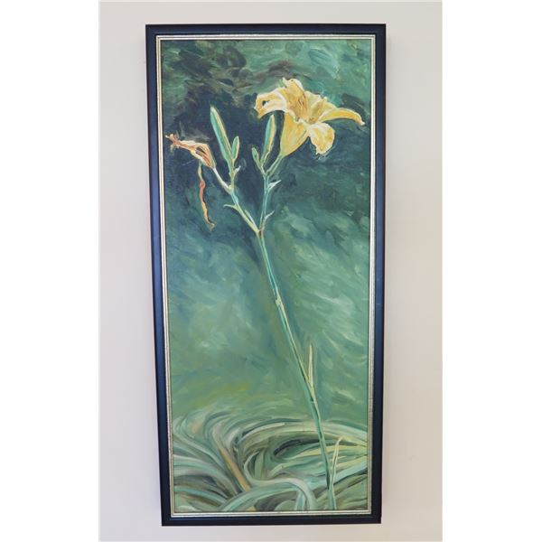 Orchid Art Work Signed by Artist Cablak (?) in Wood Frame 18 x39