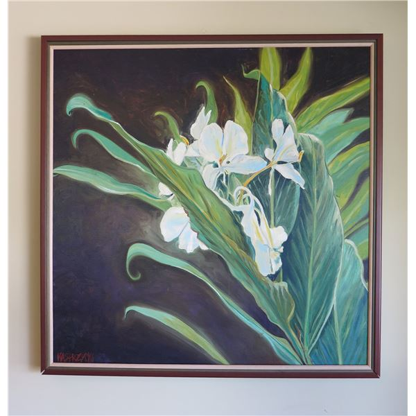Kahili Ginger Art Work Signed by Artist Kasprzycki in Wood Frame 44 x44