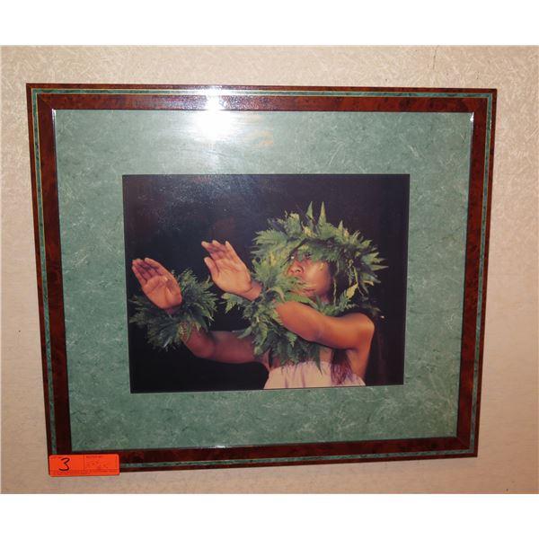Hawaiian Dancer in Haku Lei Art Work Framed & Matted 22 x18.5