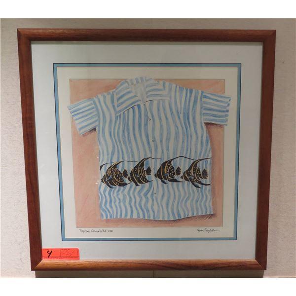 Tropical Threads' Ed 2500 Framed Art Piece Signed by Susan Singleton 21.5 x21.5