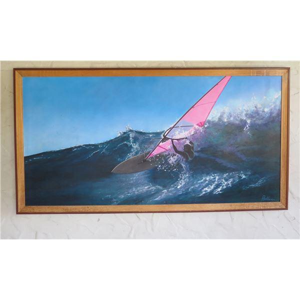Windsurfer Art Work Signed by Artist Belloni  in Wood Frame 54 x101