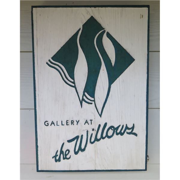 "Wooden 'Gallery at the Willows' Carved Sign 12""x17.5"""