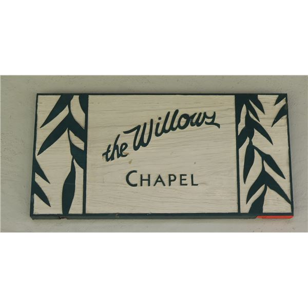"Wooden 'the Willows Chapel' Carved Sign 24""x12"""