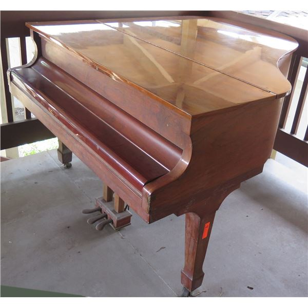 Horner Wooden Grand Piano w/ Hinged Top on Wheels w/ Cover 810910