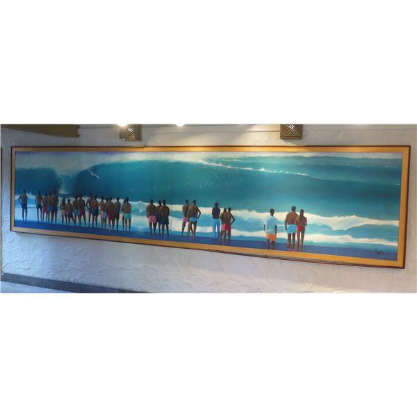 18-Foot Long Surfing Beach Scene Art Signed by Artist Austen in Wood Frame 18'L x 53 W