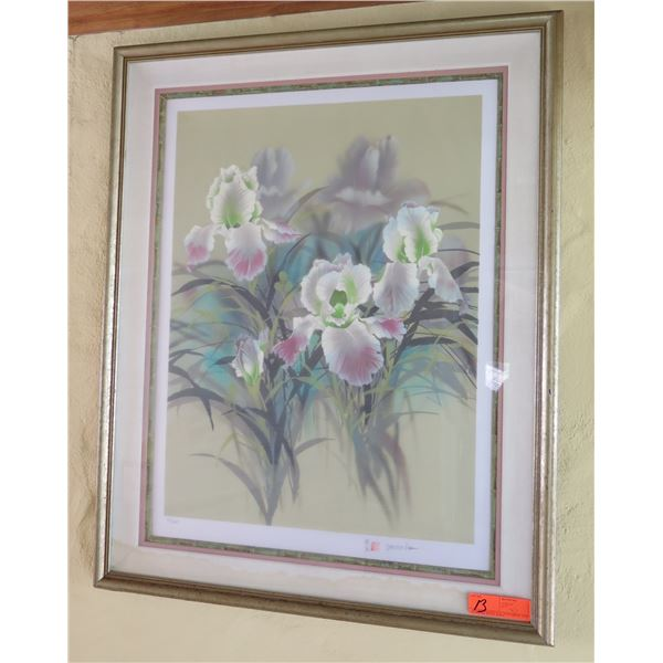 Orchid Art Work Signed David Lee w/ Maker's Mark 23/100 in Wood Frame 28 x35