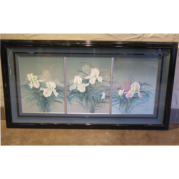 Orchid Art Work Signed David Lee w/ Maker's Mark 23/100 in Wood Frame 63 x34