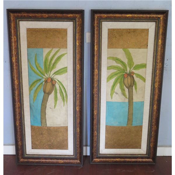 "Qty 2 Palm Tree Art Pieces in Wood Frame 22.5""x50"""