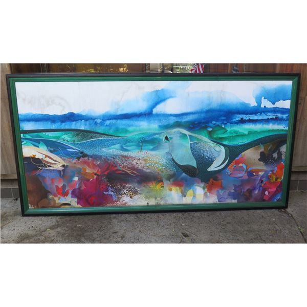 "Kahului' Underwater Fish Scene Art Work by Robert Young 12/43 (72""x37"") - has cosmetic damage"