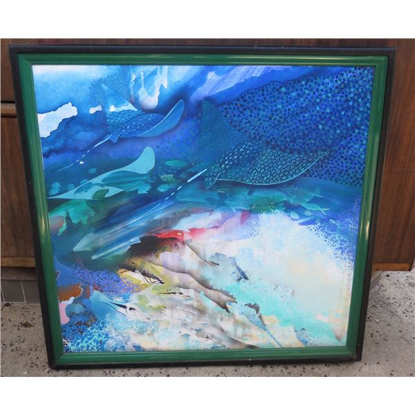 "Kahului' Underwater Fish Scene Art Work by Robert Young 12/43 Framed 38""x37"" (has cosmetic damage)"