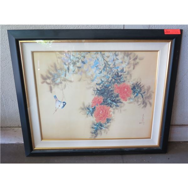 "Floral Art Work Signed David Lee 78 w/ Maker's Mark in Wood Frame 37""x31"" (has cosmetic damage)"