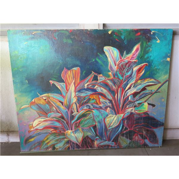 "Floral Art Work Signed Jan K (?) Unframed 60""x48.5"" (has cosmetic damage)"