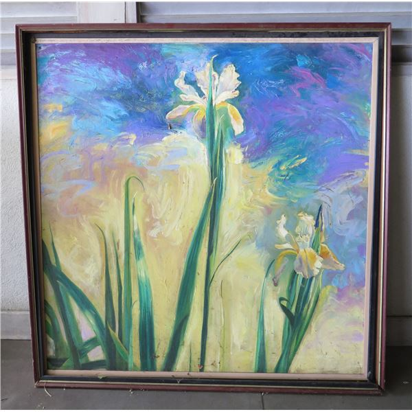 "Orchid Art Work Willows 0641 in Wood Frame 52""x53"""