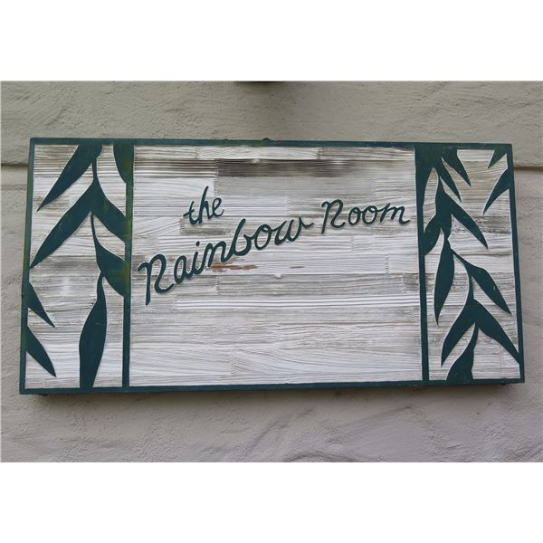 Carved Wooden Sign 'the Rainbow Room' Wall Mounted